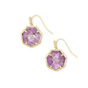 Cynthia Gold Drop Earrings In Bronze Veined Lilac